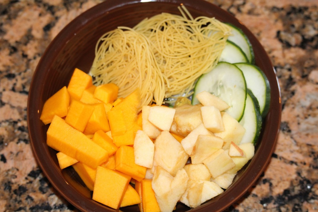 pumpkin soup with apples and cucumbers