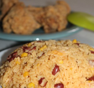 Rice with kettle corn and Red beans / Arroz con maiz y habichuelas rojas