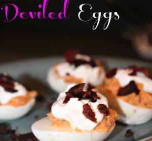 Sriracha Deviled Eggs/ Huevos Rellenos con Sriracha