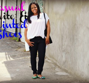Casual White and Printed shoes (OOTD) / Blanco casual y zapatos con Entampadas (OOTD)
