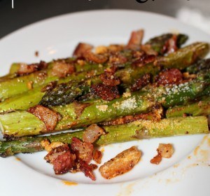 Asparagus with Bacon bits and Parmesan cheese