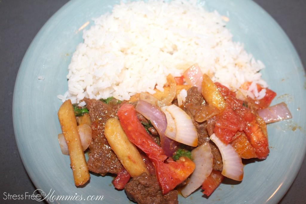 peruvian lomo saltado with rice