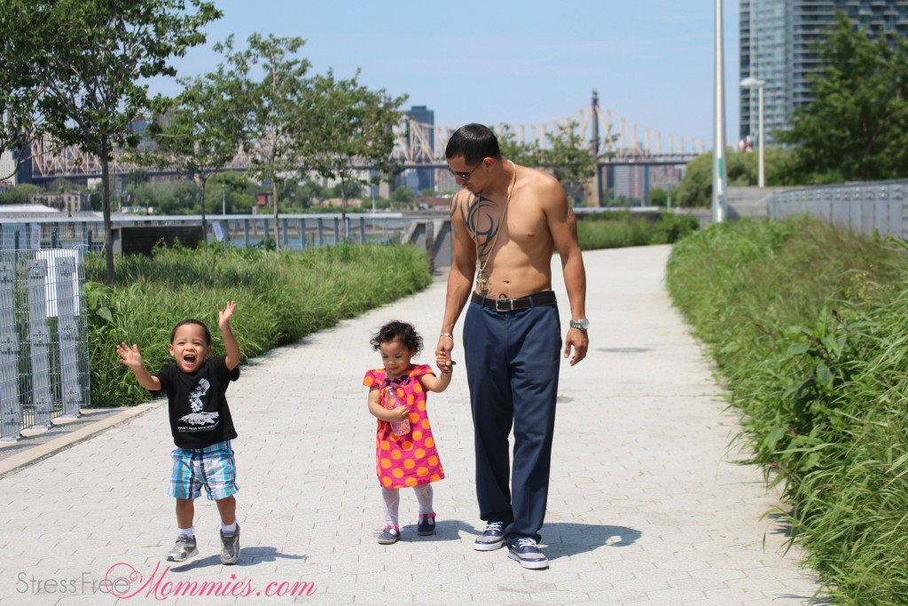 shirtless daddy with twins
