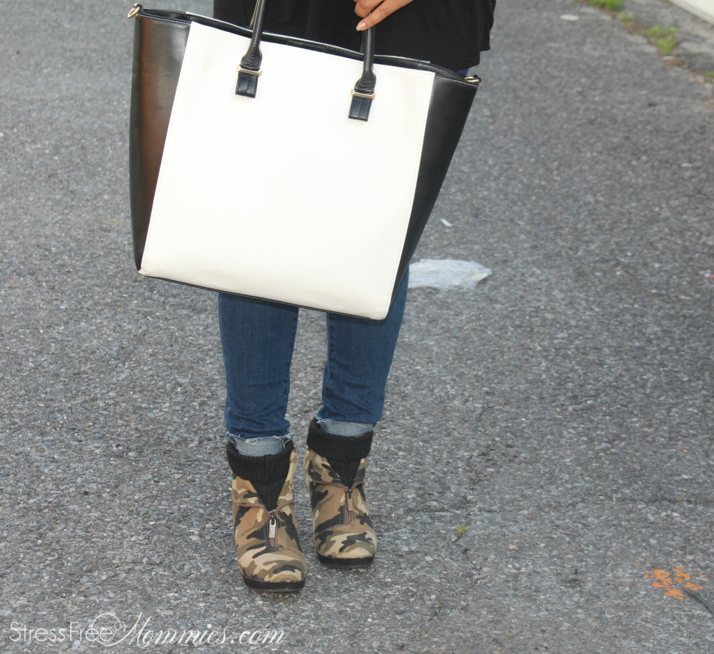 JustFab black and white tote