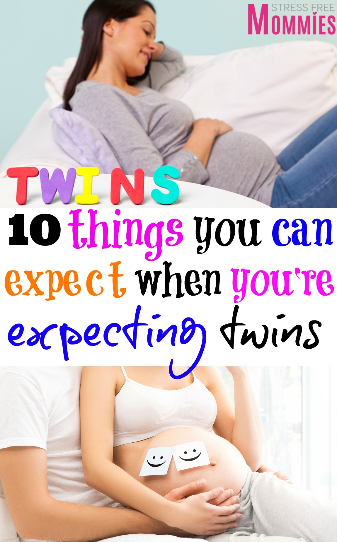 Just found out you\'re expecting twins? Here\'s the ultimate list of what you should expect with a twin pregnancy! From doctor\'s appointment to symptoms!