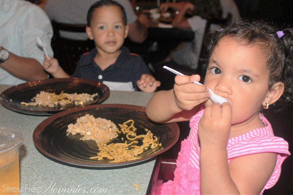 twins eating hibachi food