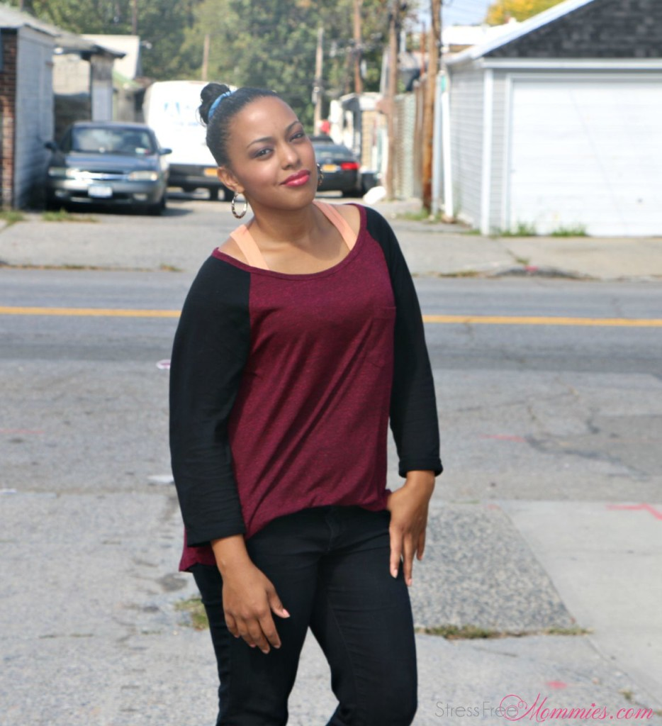 black jeans and burgundy jersey style shirt