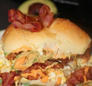 Egg Bacon and Avocado Breakfast Sandwich