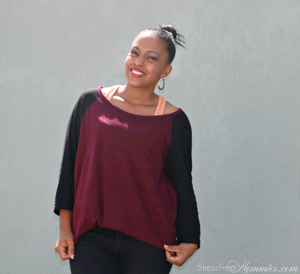 fall outfit burgundy jersey shirt