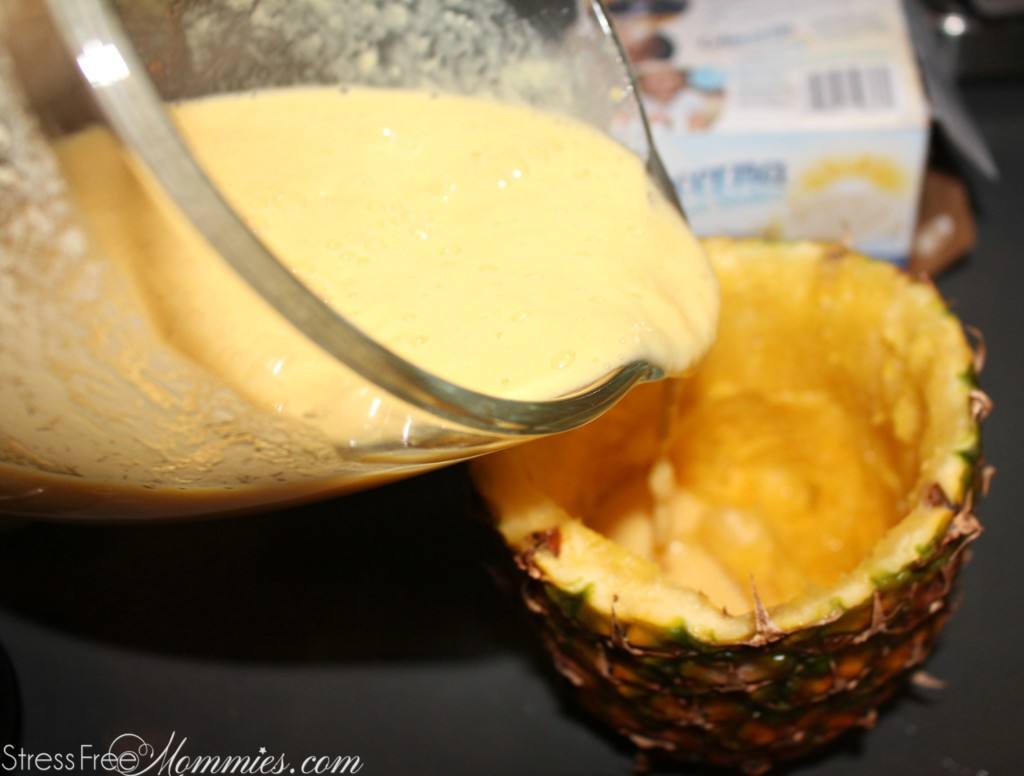 smoothie inside a pineapple
