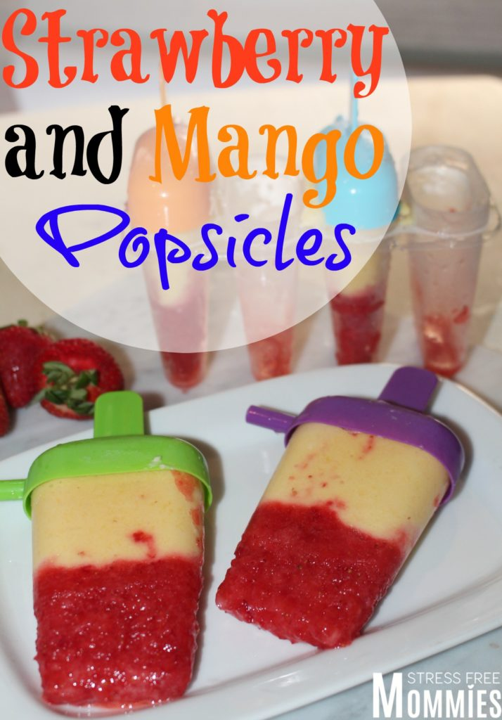 strawberry and mango popsicles