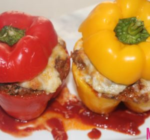 ground beef and mashed potatoes stuffed peppers