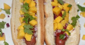 Super easy Caribbean hot dogs