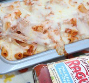 Cheesy baked ziti Bolognese