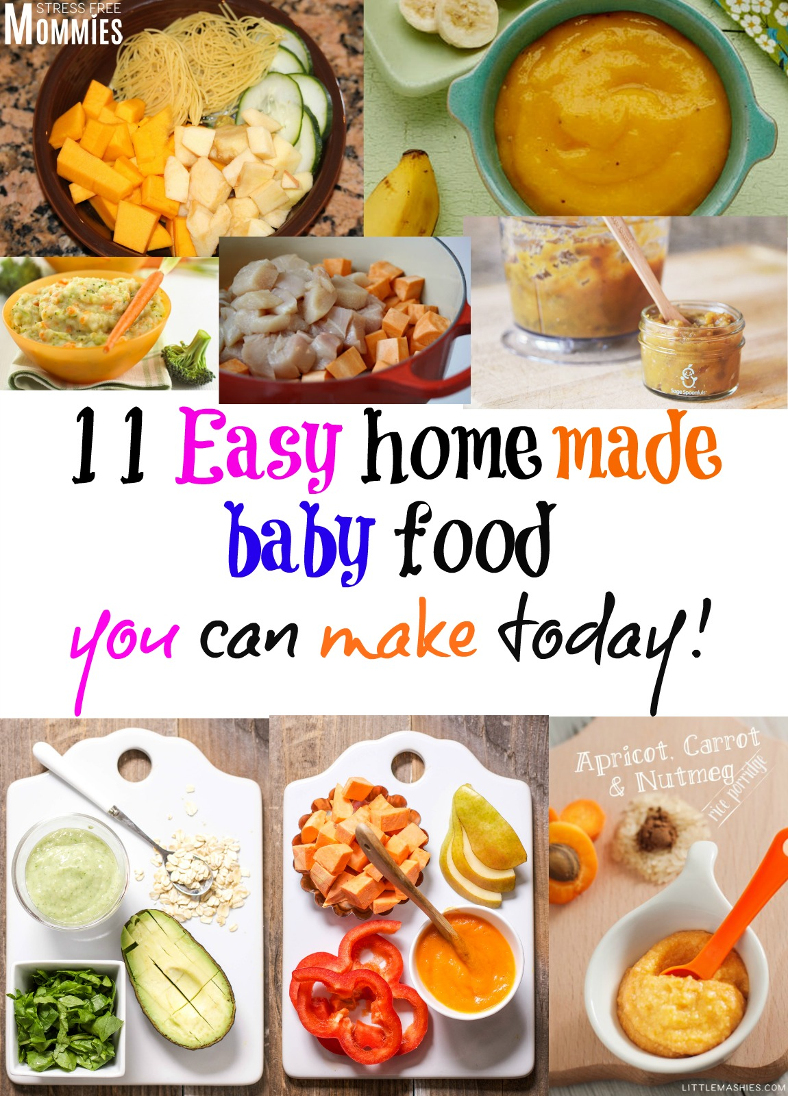 11 easy homemade baby food you can make today- 11 of the yummiest and easiest baby food for your baby to enjoy. Stages 1 , 2 and 3! #babyfood #baby #momtips