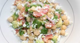 Simple garbanzo and avocado salad