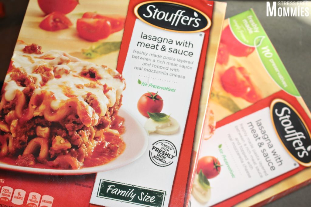 Stouffer's meat and sauce lasagna with two super easy side dishes