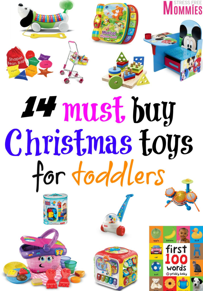 14 must buy christmas toys for toddlers- Your toddler is going to love these fun toys as a Christmas present. They will keep your toddler entertained and busy for a good amount of time. My kids loved every single one and I know your toddler will too! Pin and read for later!