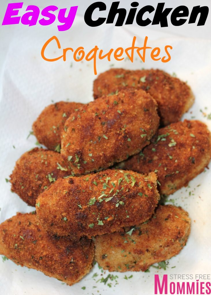 easy chicken croquettes- So easy to make and so delicious to eat, these chicken croquettes has to be a a must make. Crunchy on the outside and soft on the inside. Perfect appetizer for any party! Pin now and make later!