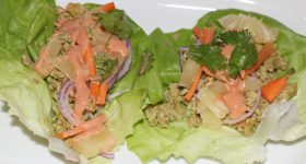 Pineapple and chicken lettuce wraps