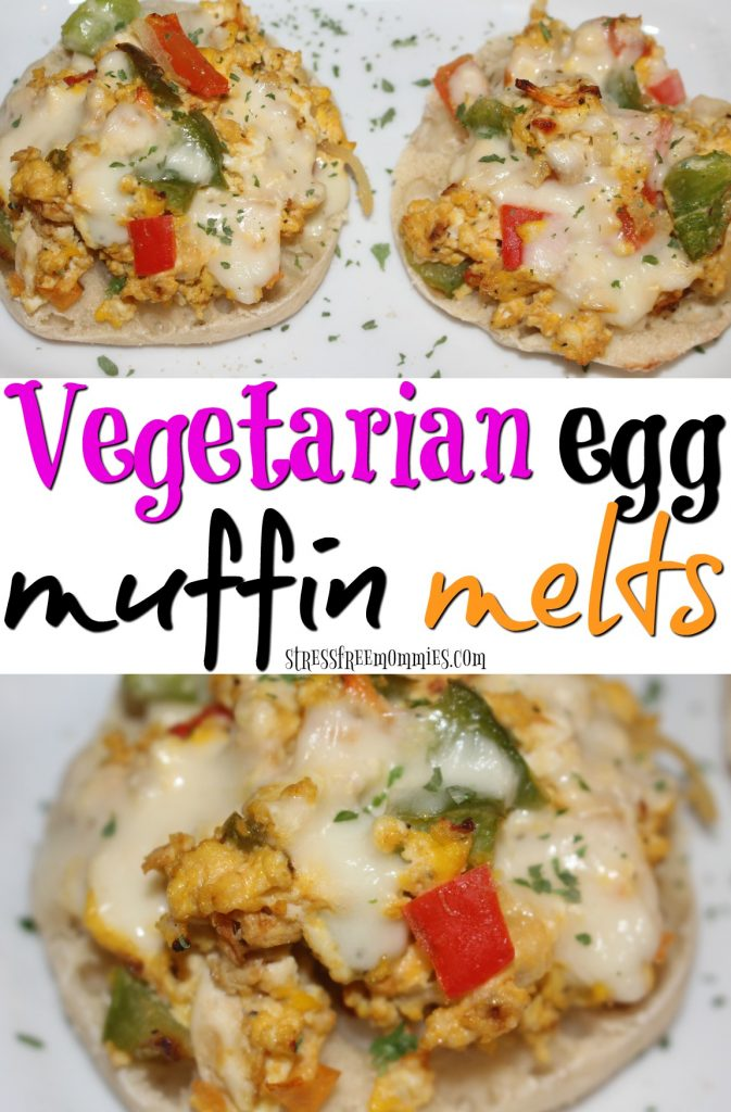 vegetarian egg muffin melts- This is the perfect quick and easy pick me up breakfast. It's full of fresh vegetables, fluffy eggs and melted cheese. It's also kid and busy mom approved. Make it, try it,Pin it!