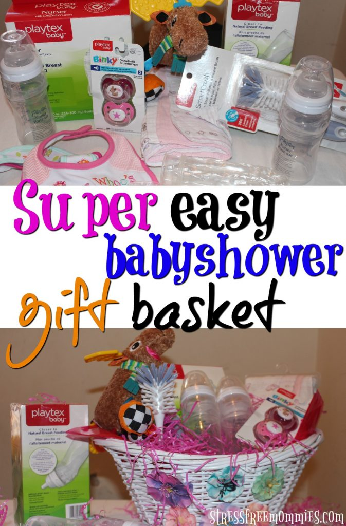 super easy baby shower gift basket- Baby shower gift basket is a great way to surprise and spoil any pregnant mama. It's filled with baby goodies that I'm sure will be put to good use. Make your own baby shower gift basket today, it's super easy, fun and any pregnant woman will be involve with it! pin now! #FirstMomentsMadeSimple #ForBetterBeginnings #MomsFirsts #ad