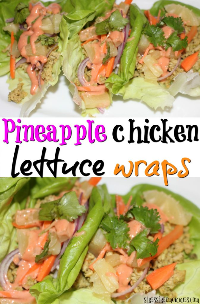 pineapple chicken lettuce wraps- Easy, healthy and delicious. These simple pineapple and chicken lettuce wraps are full of flavor and are a great quick and easy snack, lunch or dinner!