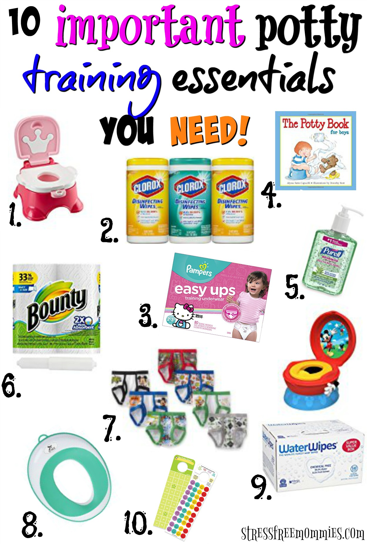 Are you ready to start potty training your toddler? Find out what items you need to stock up on in order to potty train your child fast and stress free!