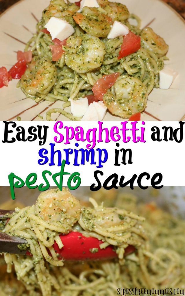Easy and delicious pesto spaghetti with shrimp. Perfect for weeknights and an easy family meal option. Enjoy!