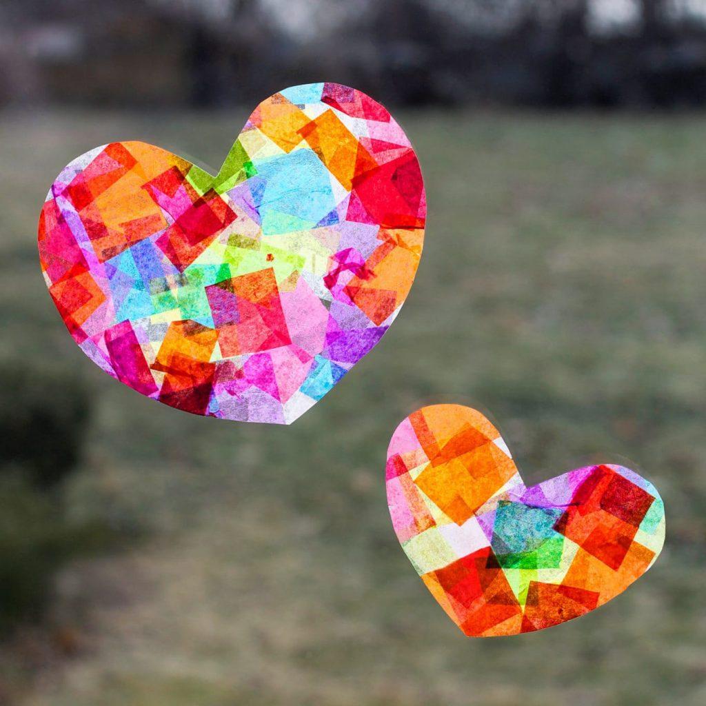 rainbow heart sun catchers