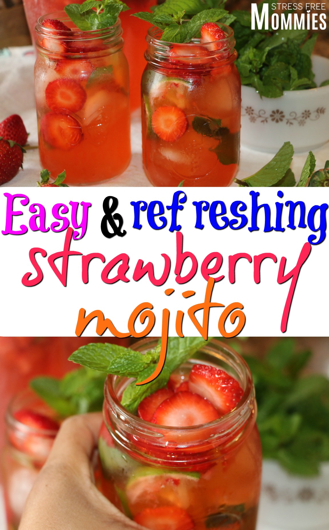Easy and refreshing strawberry mojito- The best strawberry mojito. Fresh strwaberries, mint leaves, lemon juices and a touch of sprite to sparkle your life! #drinks #mojitos