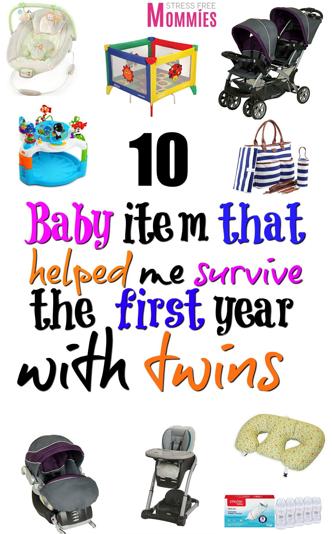 10 baby items that helped me survive the first year with twins - A detailed list of the baby items you need to survive the first year with twins. #twins #twinmom #babies