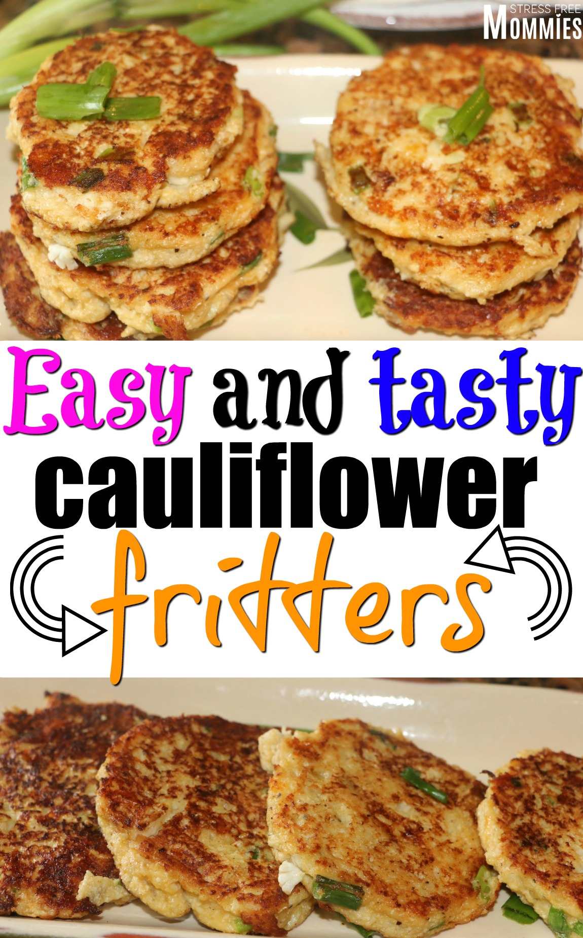 easy and tasty cauliflower fritters- Full of flavor and so easy to make. It's also kid-friendly, once you've tried them you'll want to make them again! #veggies #kidfriendly #cauliflower