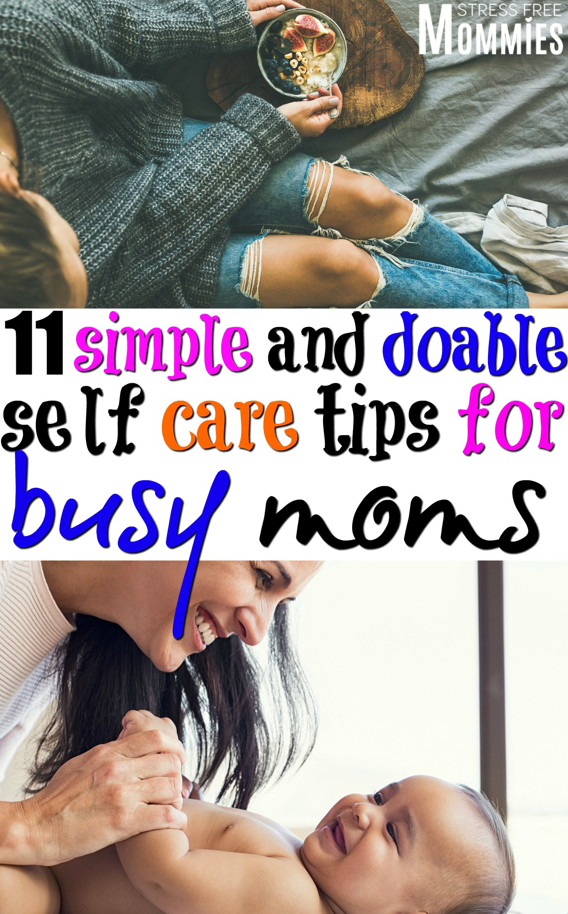 Learn about the easy and doable ways moms can care for themselves and why it's important. Simple self care tips for busy moms. #momtips #selfcare