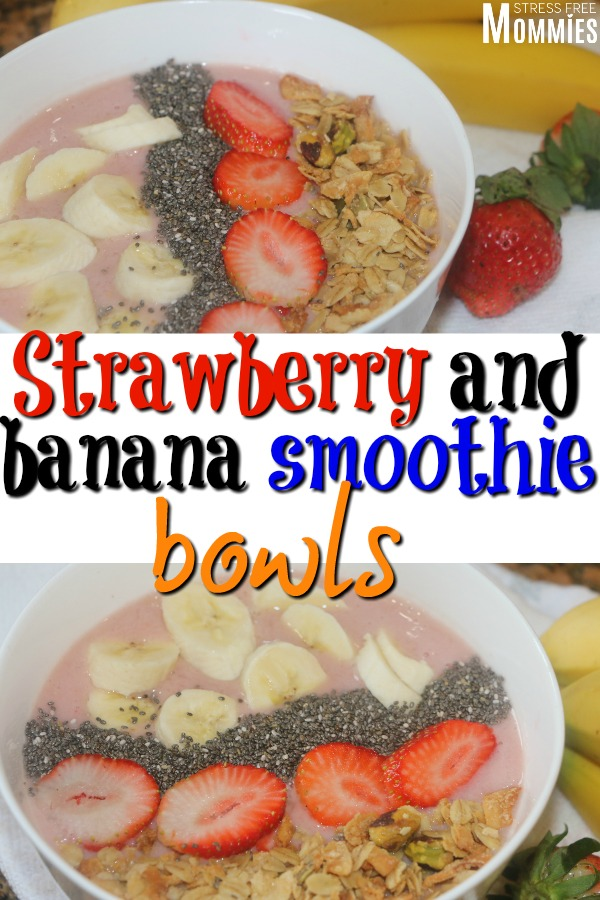 An easy and healthy breakfast option. Strawberry and banana smoothie bowls that are going to rock your busy world! These smoothie bowls are so delicious! #breakfast #smoothie #smoothiebowls