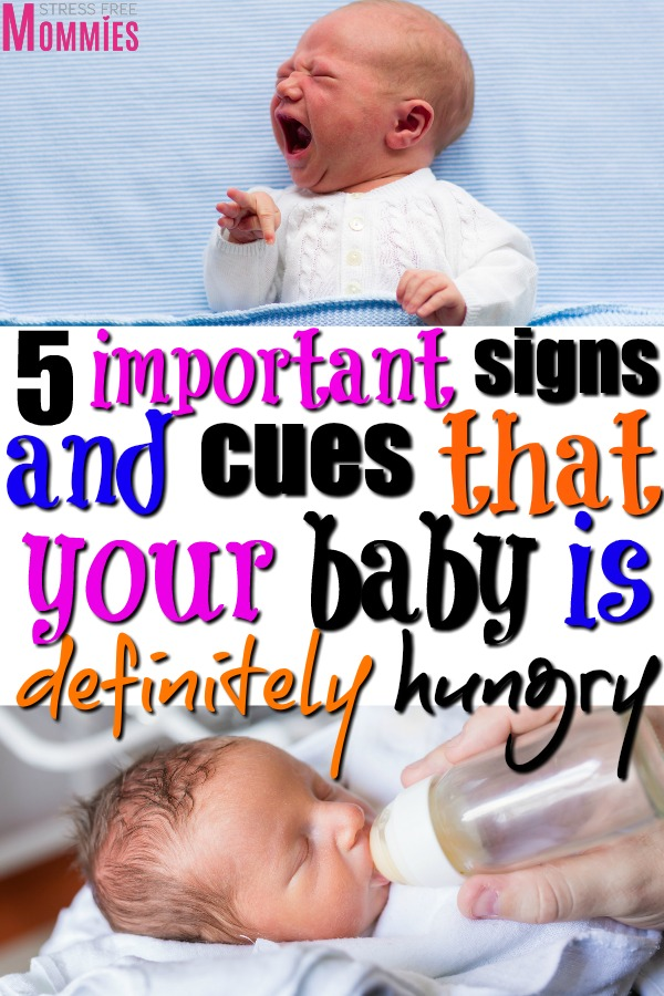 Want to know if your newborn baby is hungry? These are the signs that your baby is hungry and needs a feeding. Baby cues that are signs your baby is hungry!