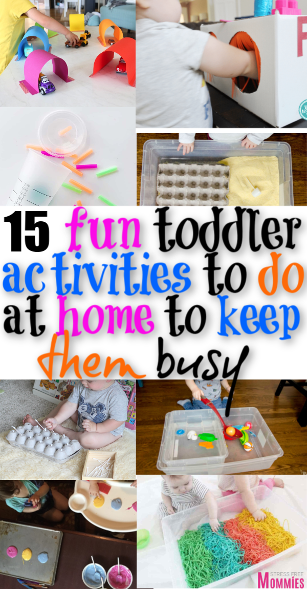 Looking for fun ways to entertain your toddler? Check out these 15 activities that you can do from home to help keep your toddler entertain and busy!